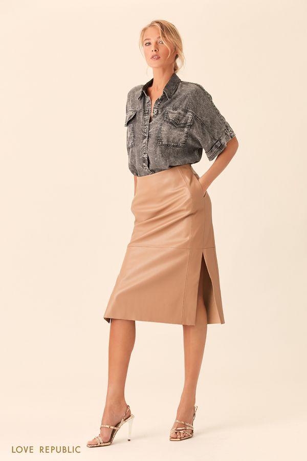 Прямая юбка шоколадного цвета с заметными швами 0153081226-22