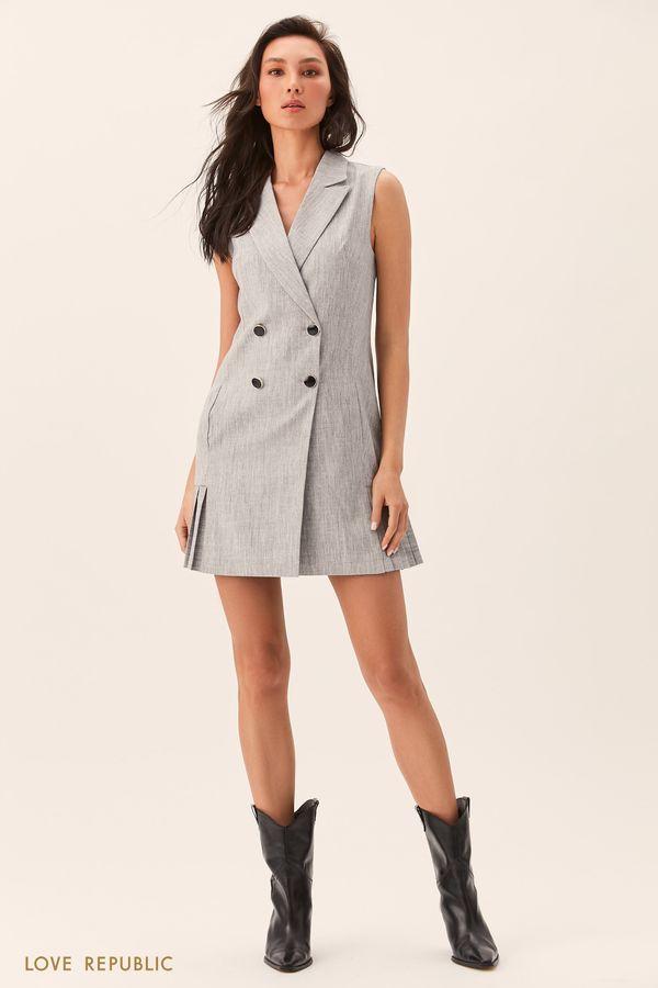 Серое платье-пиджак без рукавов 0153092566-32