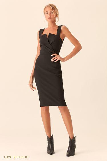 Открытое чёрное платье с лифом на запахе 0153101564
