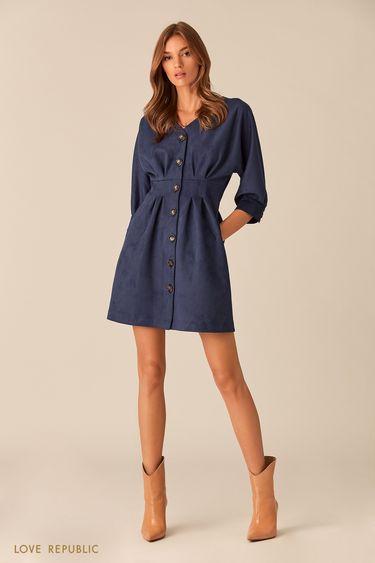 Тёмно-синее платье мини с рукавами три четверти 01531030567