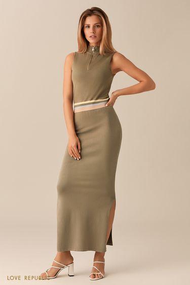 Трикотажное платье цвета хаки без рукавов 01531500562