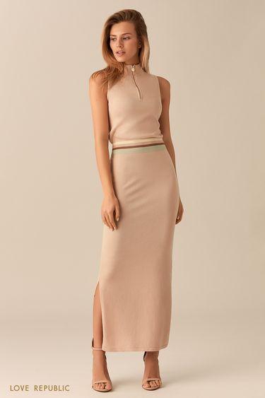 Трикотажное кремовое платье без рукавов  01531500562