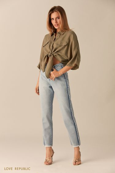 Укороченные брюки из голубого денима с бахромой 0153194739