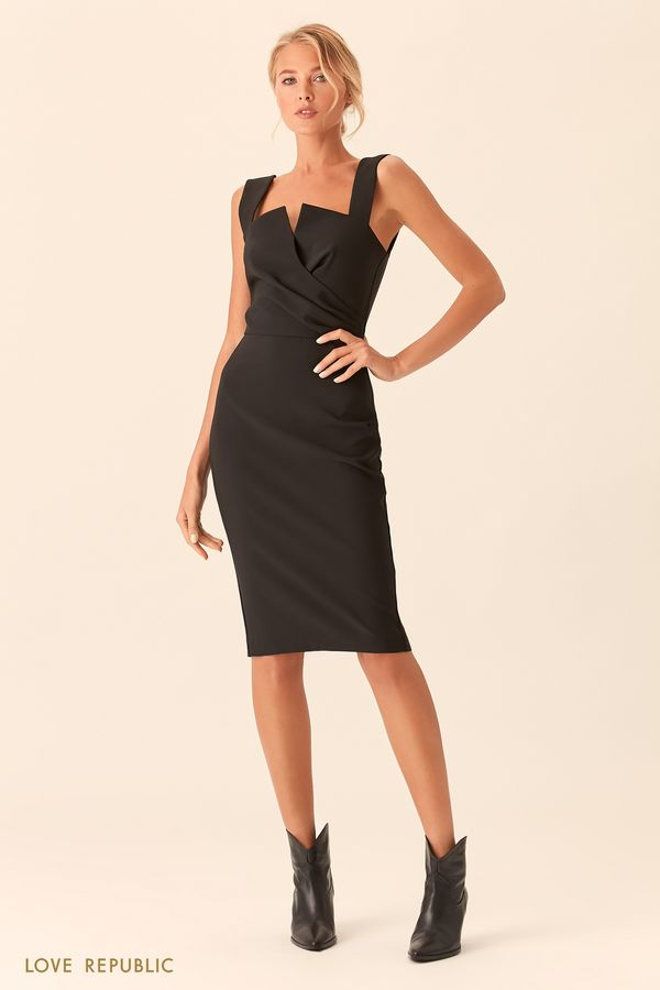 Открытое чёрное платье с лифом на запахе 0153101564-50