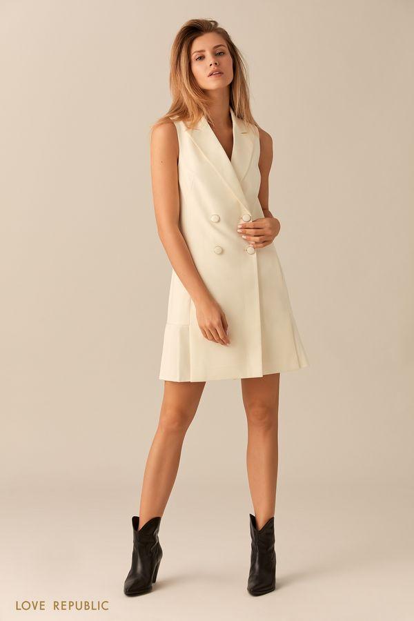 Короткое платье без рукавов с плиссированной юбкой 0153101566-60