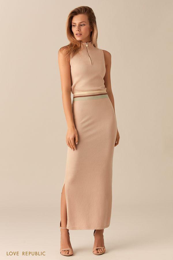 Трикотажное платье цвета хаки без рукавов 01531500562-13