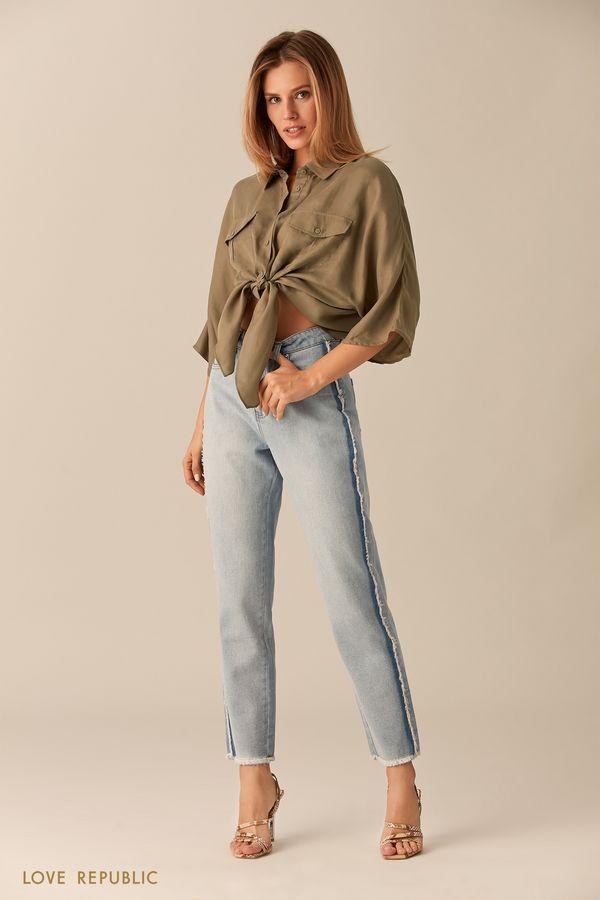 Укороченные брюки из голубого денима с бахромой 0153194739-41