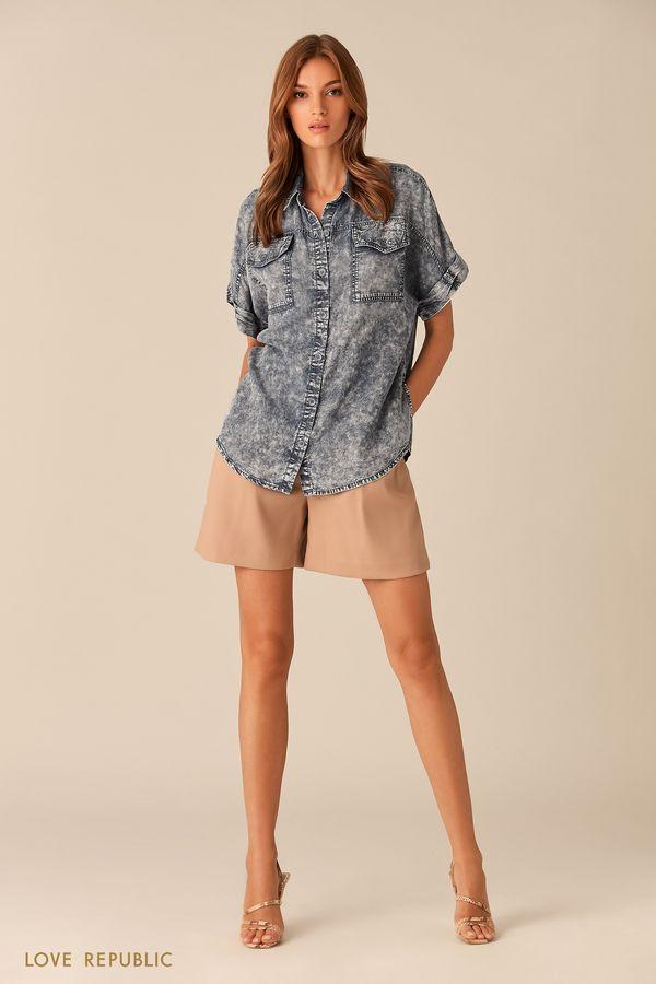 Рубашка на пуговицах из потёртого денима синего цвета 0153196328-40