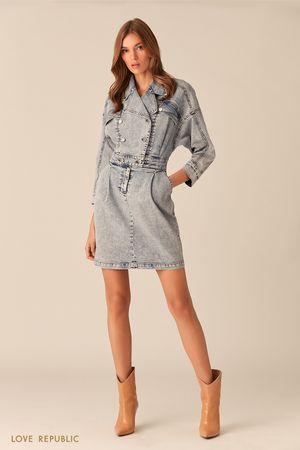 Короткое платье из стираного синего денима