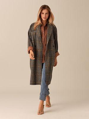 Пальто-кокон из шерстяной ткани с принтом