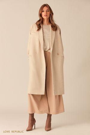 Пальто-кокон из шерстяной ткани в ёлочку фото