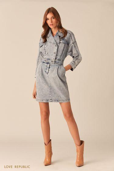 Короткое платье из стираного синего денима 0153202512