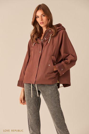 Широкая куртка цвета капучино с капюшоном 0153227117
