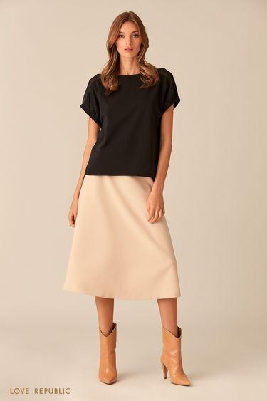 Чёрная хлопковая блузка с короткими рукавами 0153255326