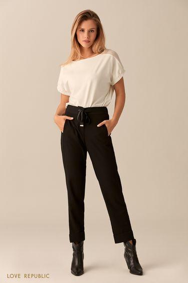 Молочная хлопковая блузка с короткими рукавами 0153255326