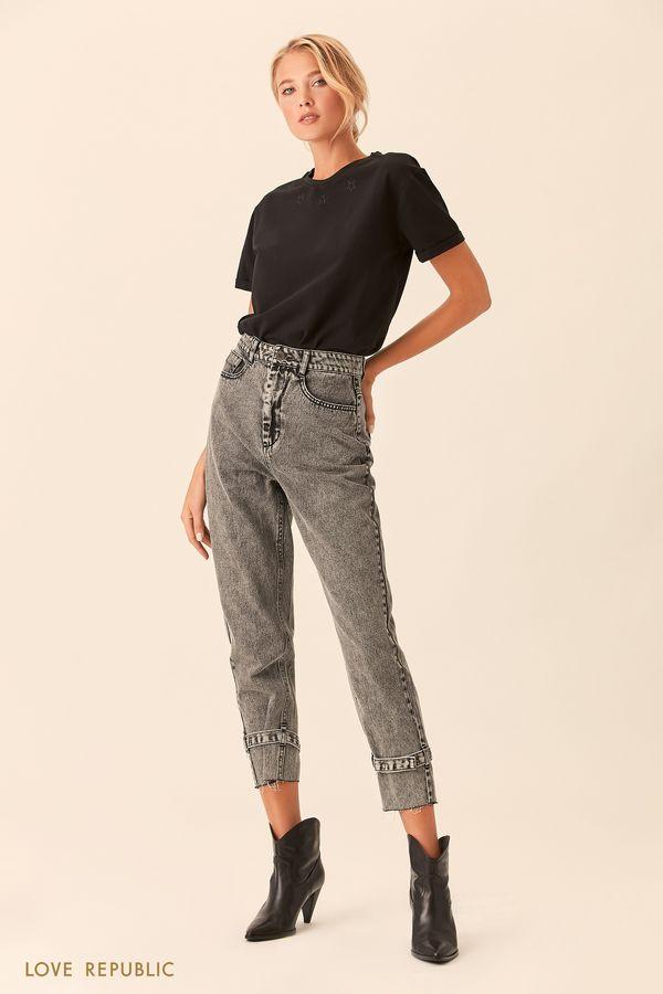 Укороченные джинсы с ремешками 0153203742-37