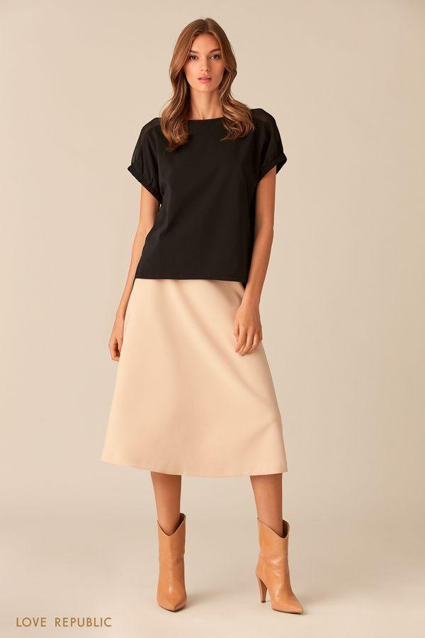 Чёрная хлопковая блузка с короткими рукавами 0153255326-50