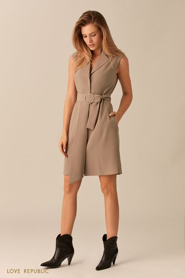 Песочное платье без рукавов сзакрытой пуговичной планкой 0153311563