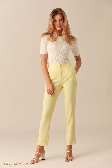 Прямые брюки лимонного оттенка 0153311748