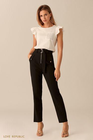 Чёрные брюки с заметной застёжкой-молнией 0153314718