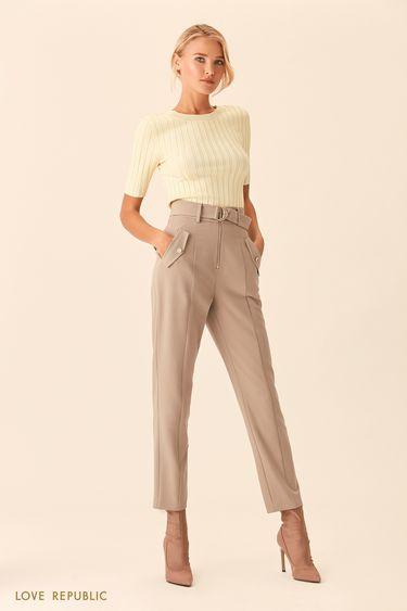 Бежевые брюки с заметной застёжкой-молнией 0153314718