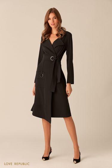 Платье миди из чёрной ткани с люверсами 0153317524