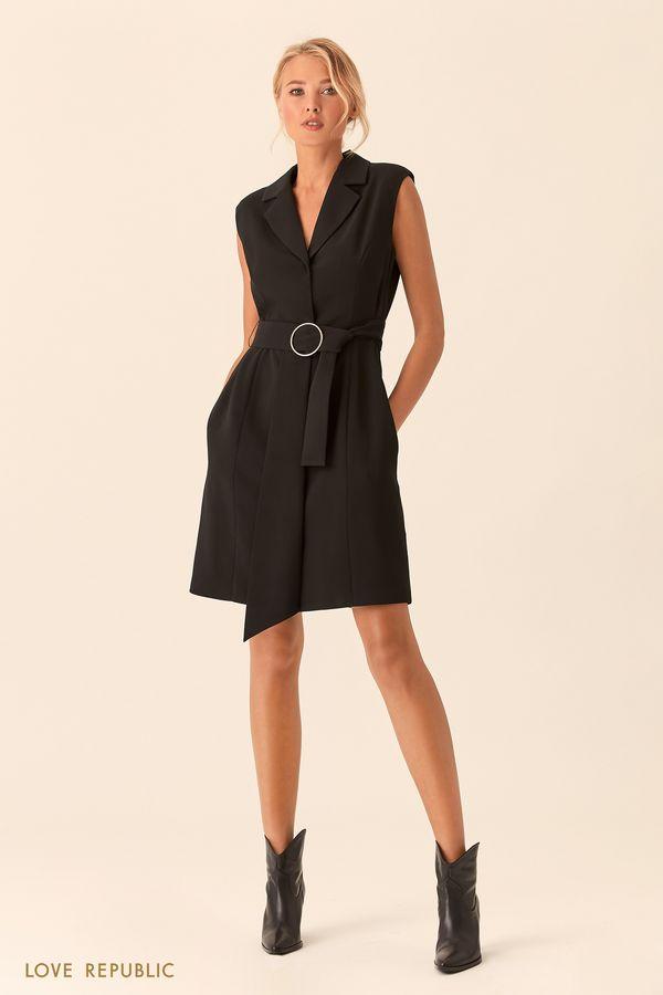 Чёрное платье без рукавов сзакрытой пуговичной планкой 0153311563-50