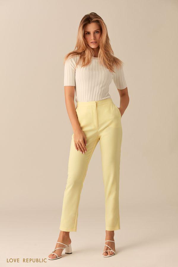 Прямые брюки лимонного оттенка 0153311748-10