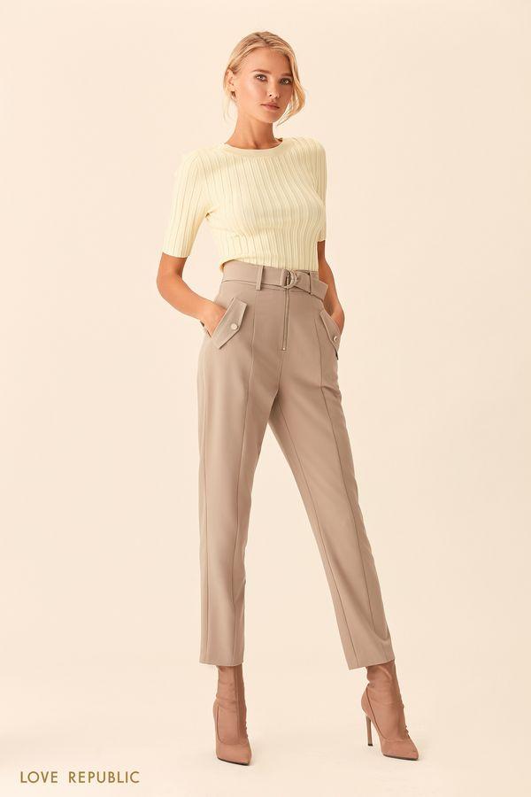 Бежевые брюки с заметной застёжкой-молнией 0153314718-62