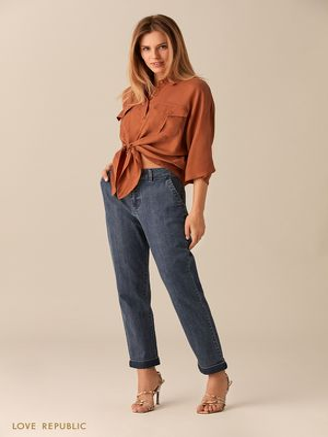 Укороченные джинсы цвета голубой индиго с отворотами