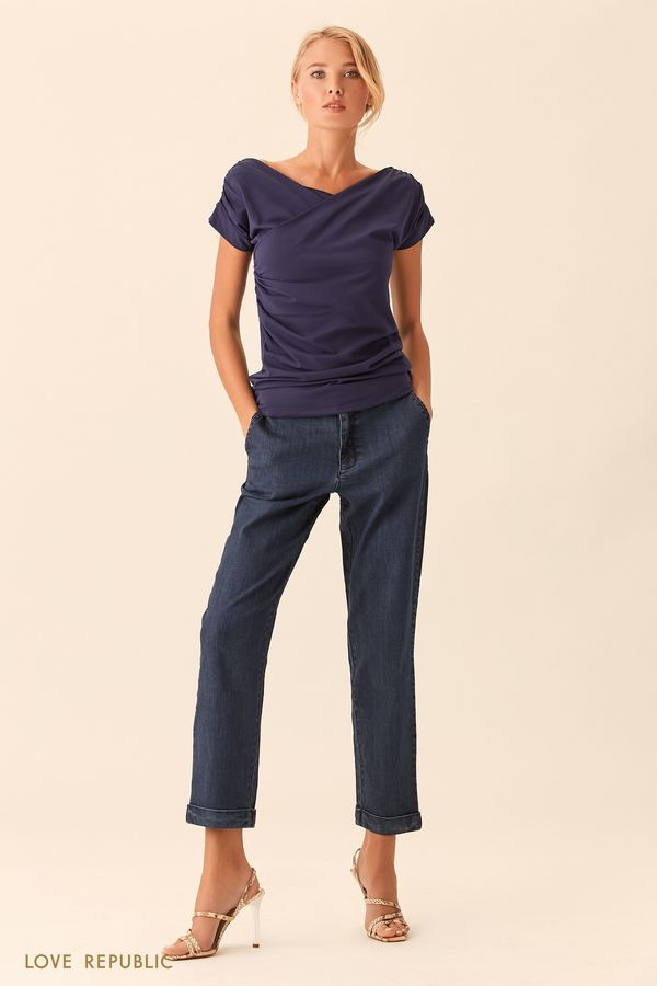Укороченные джинсы цвета голубой индиго с отворотами 0153442709-102