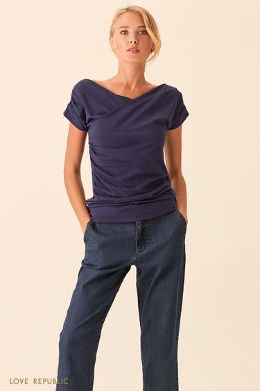 Синяя футболка с драпировками 01535140327