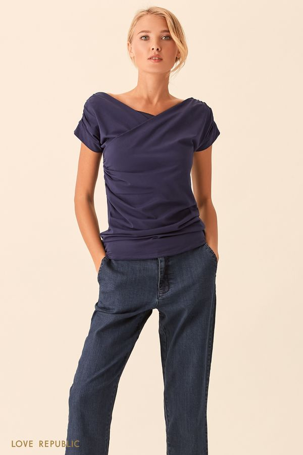 Кирпичная футболка с драпировками 01535140327-21