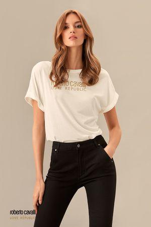 Молочная футболка с надписью ROBERTO CAVALLI for LOVE REPUBLIC фото