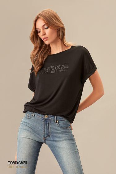 Черная футболка с надписью ROBERTO CAVALLI for LOVE REPUBLIC 0153752302