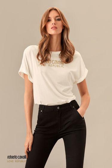 Молочная футболка с надписью ROBERTO CAVALLI for LOVE REPUBLIC 0153752302