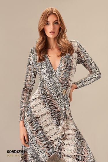 Платье на запах с принтом 0153763507