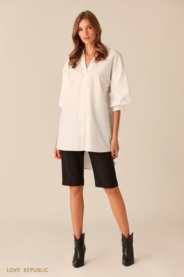 Удлинённая хлопковая рубашка с рукавами-буфами 0153778342