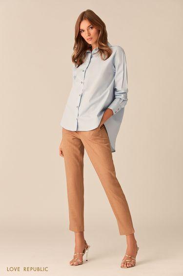 Небесно-голубая рубашка оверсайз из хлопка 0153782369