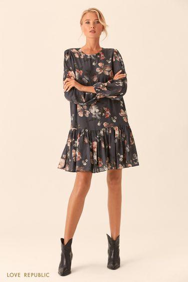 Короткое серое платье с цветочным принтом 0153783570