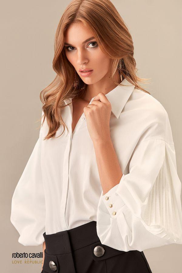 Рубашка с плиссировкой по рукавам 0153755305-60