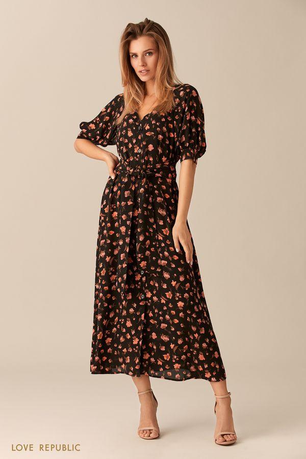 Длинное платье на пуговицах с цветочным принтом 0153780527-55