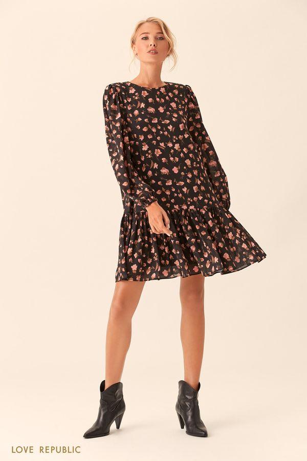 Короткое серое платье с цветочным принтом 0153783570-35
