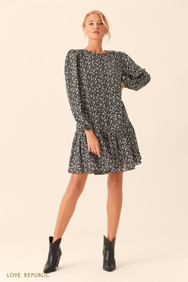 Короткое чёрное платье с принтом 0153783570-54