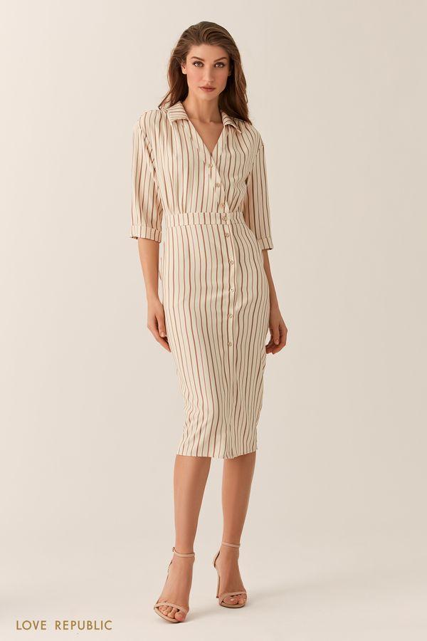 Платье на запах с асимметричным рядом пуговиц 0153784571-66