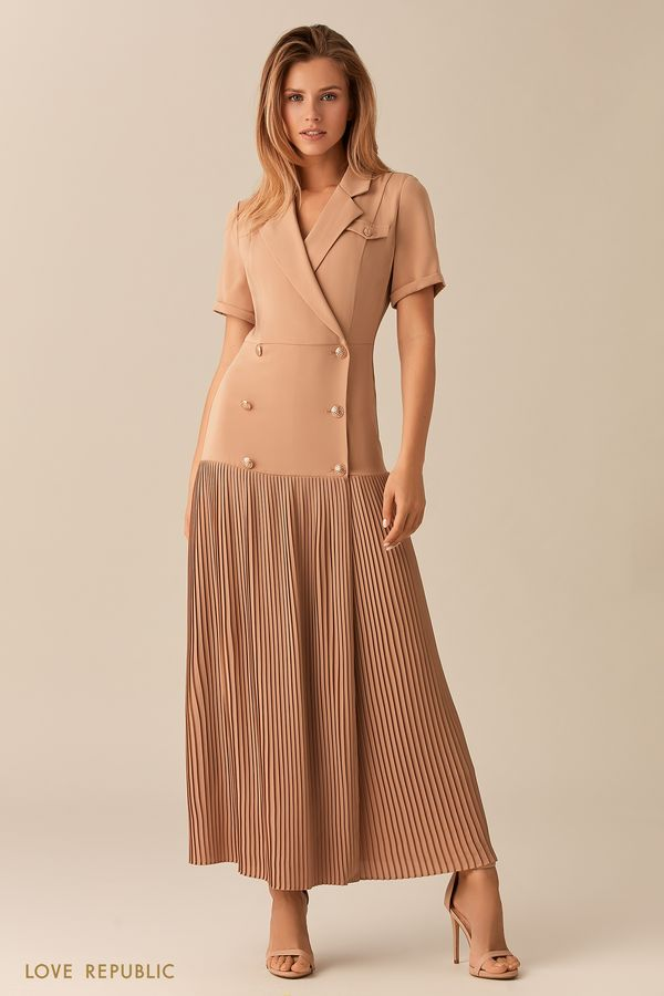 Платье-пиджак с длинной плиссированной юбкой 0153785572-63