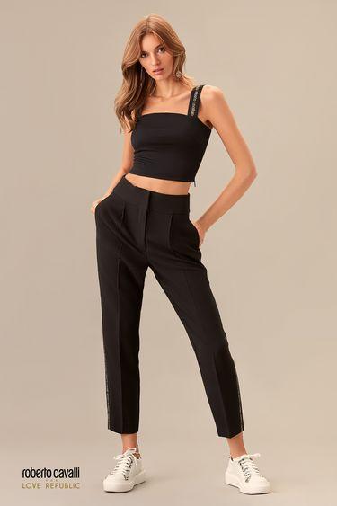 Черные брюки прямого кроя с логотипом по бокам 0153812702
