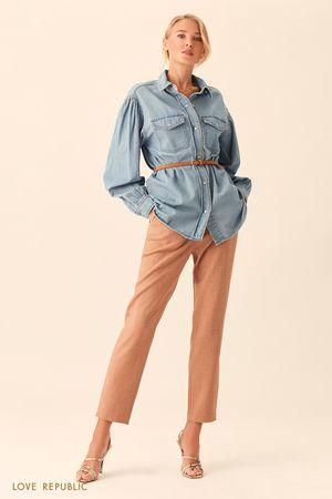 Длинная рубашка из денима цвета светлый индиго фото