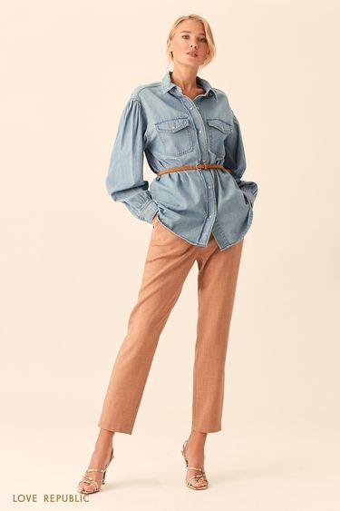 Длинная рубашка из денима цвета светлый индиго 0153957345