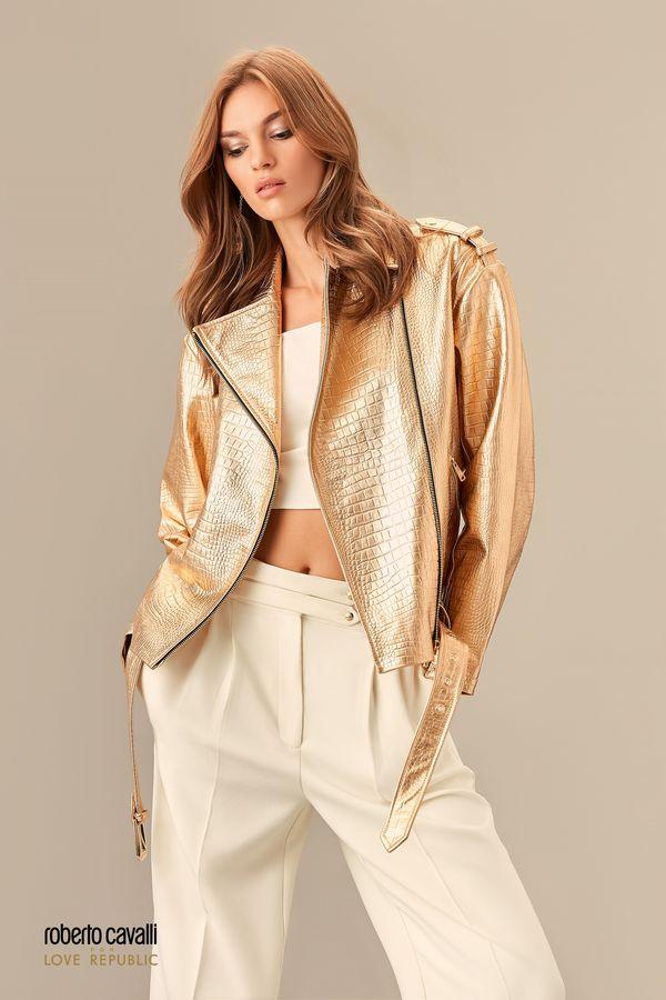 Кожаная байкерская куртка золотого цвета 0153972102-6